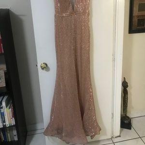 Jovani Deep V Sequin Gown
